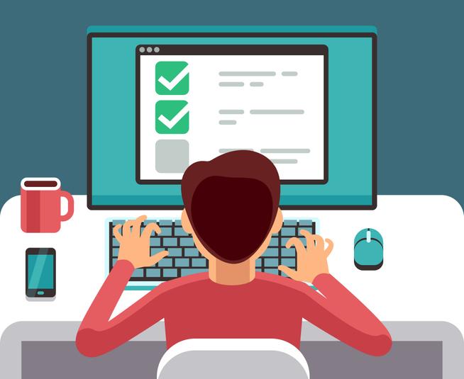 Man at computer filling online questionnaire form. Survey vector flat concept