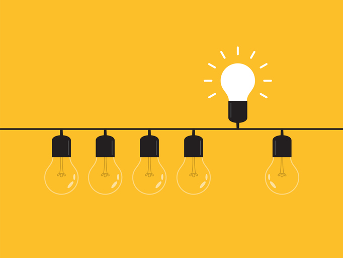 Think differently, standing out from the crowd -The graphic of light bulb represents business concept. New idea, change, trend, courage, creative solution, innovation and unique way concept.