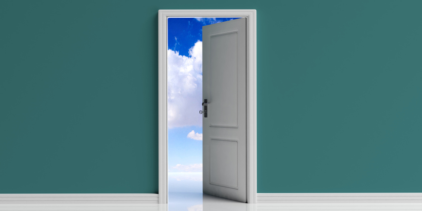Open door on green wall background, blue sky with clouds view out of the door opening. 3d illustration