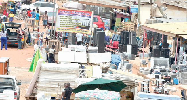 Second-hand goods displayed at Abeka Lapaz