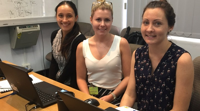 Registered nurse Zealeasha Ball, and speech pathologists Sarah Drake and Kristen Hillier at Paper-Lite local coach training for Westmead Hospital.