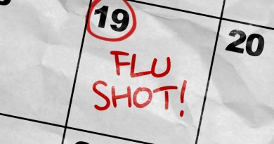 Influenza, vaccination, Flu shot marked on calendar.