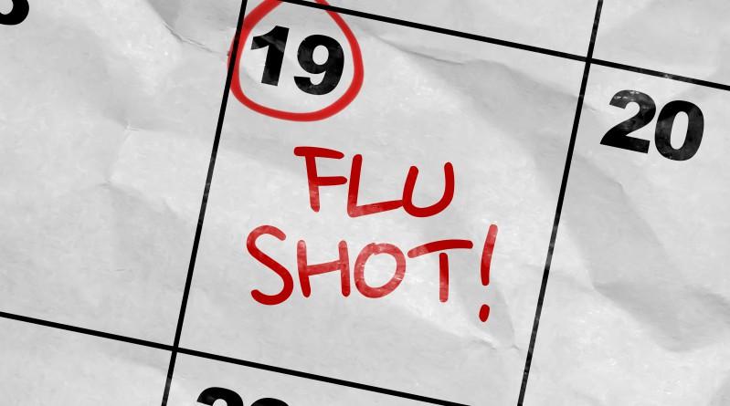 Influenza, vaccination, Flu shot marked on calendar.