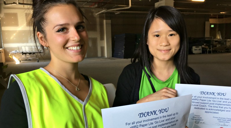 Nurse Brandee Muscat and Samantha Siow, from eHealth Gladesville, at the gathering to celebrate a successful first week of Paper-Lite at Westmead Hospital.