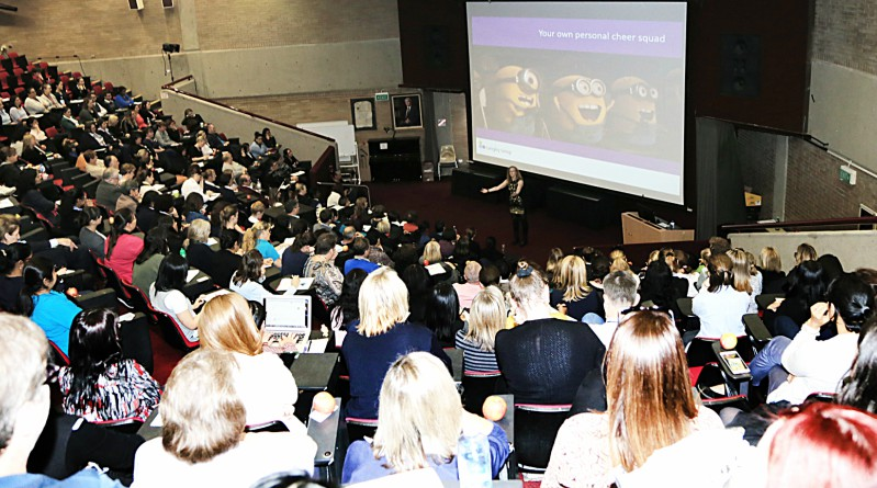 A sell-out crowd at Westmead Hospital listen to positivity and emotional intelligence expert Sue Langley, who spoke as part of the WSLHD Wellbeing Festival.