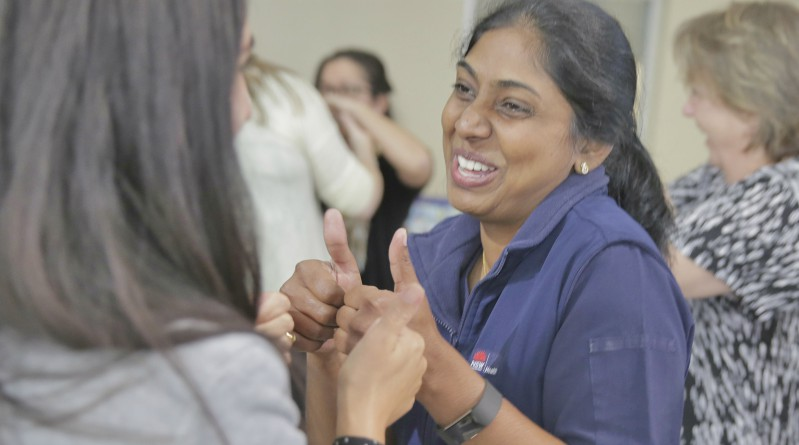 Clinical nurse specialist Naleeni Segran at the WSLHD Wellbeing Festival laughter class at Blacktown Hospital.