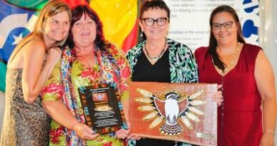 Jo Campbell, Michelle Cowan, Lorna McNamara, Natalie Short at the celebration for graduates of the 2016 Aboriginal Qualification Pathway.