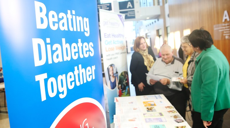 Blacktown senior pediatrist Claire McGloin, Russell and Jude Knight and communications manager, integrated and community health Anita Ray at the National Diabetes Week stall at Blacktown Hospital.