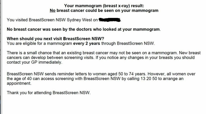 BreastScreen NSW mammogram letter