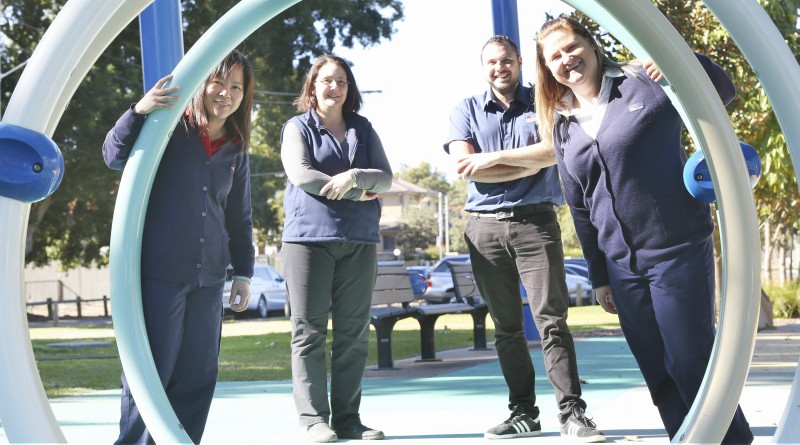 Reducing Public Health Risks associated with Water Splash Parks is a finalist in this year's WSLHD Quality Awards. Pictured; WSLHD environmental health officer Anie Truong, manager, environmental health Helen Noonan, environmental health officer trainee Trent Auld and WSLHD environmental health officer Haylee Sneesby.