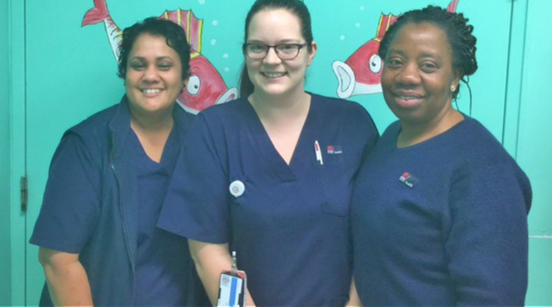 Mount Druitt ward 1A's clinical nurse specialist Jyoti Chandra and registered nurses Emily Campbell and Taiwo Adetunmbi.