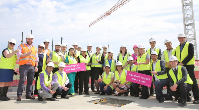 Celabrating the topping out at Blacktown Hospital's new car park.