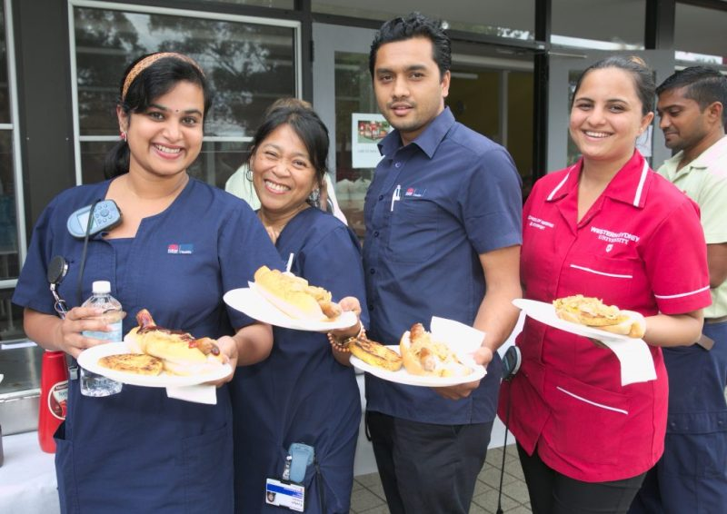 Nurses at barbecue