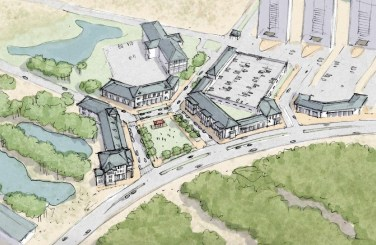 """A conceptual rendering of a town center in Perdido Key, intersecting Perdido Key Drive and Johnson Beach Road. In this option presented in the master plan, a """"square-a-bout"""" is proposed with 76,000 square feet of retail space. (Special to the Pulse)"""
