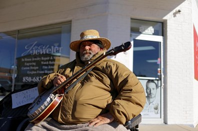 "Crestview, Fla. celebrates its centennial in 2016. Rick Edenfield, known as ""the Banjo Bear"" to Crestview locals, plays his banjo often seven days week on Main Street in downtown Crestview. (Drew Buchanan/The Pulse)"