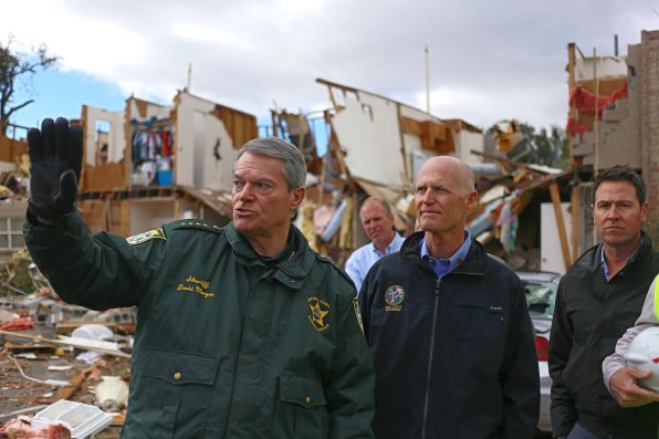 Escambia County Sheriff David Morgan, left, with Florida Gov. Rick Scott. (Drew Buchanan/The Pulse)