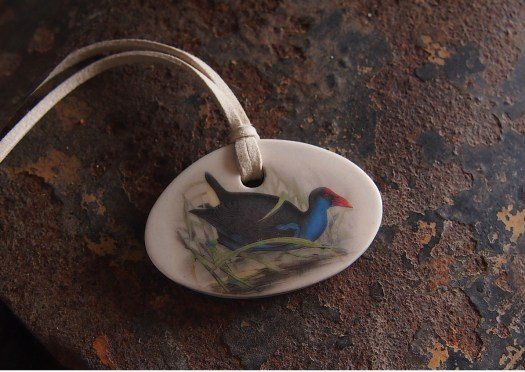 purple swamphen handmade ceramic necklace pendant flinders island