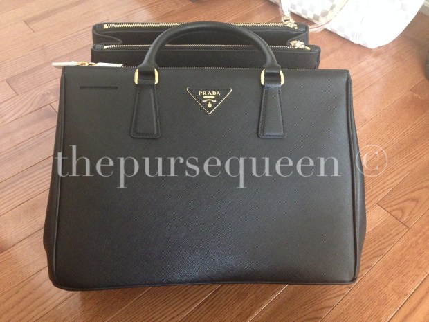 authentic prada saffiano black doublezip tote gold hardware