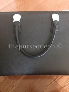 back of prada bag black saffiano