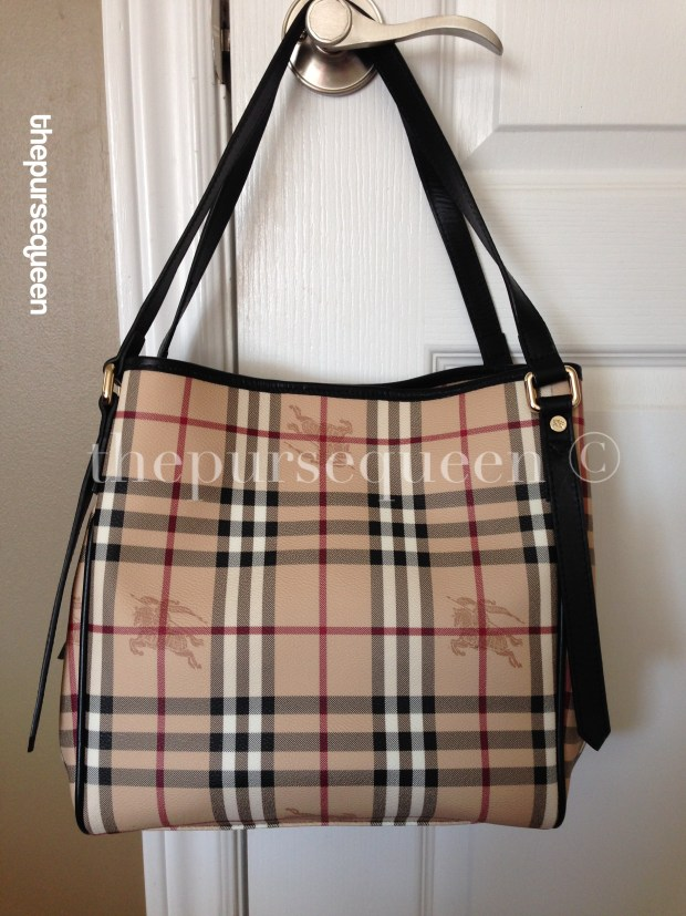 burberry haymarket tote hanging on closet