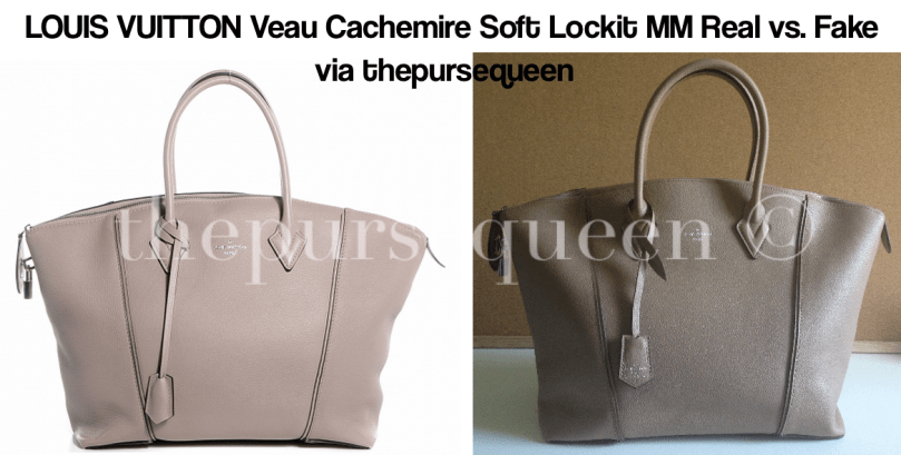 LOUIS VUITTON Veau Cachemire Soft Lockit MM fake vs real comparison