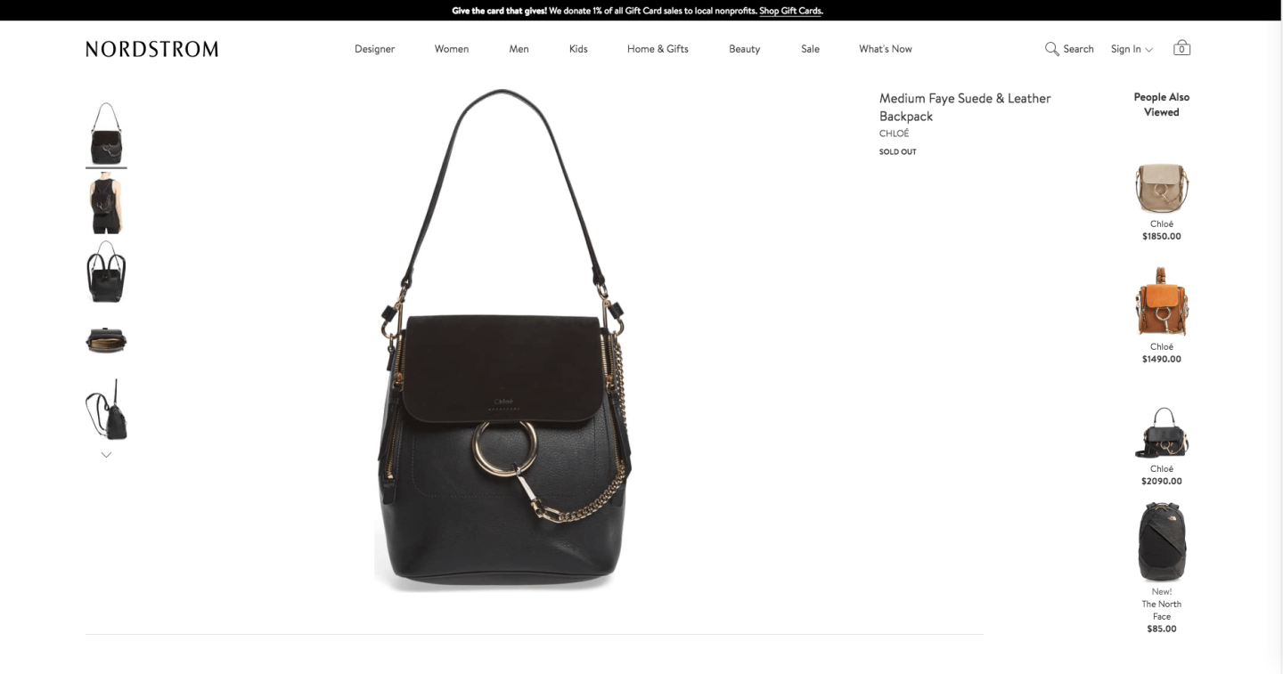 chloe faye backpack sold out