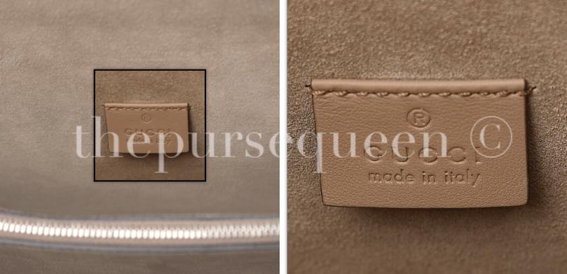 gucci interior tag stamping fake vs. real authentic vs replica