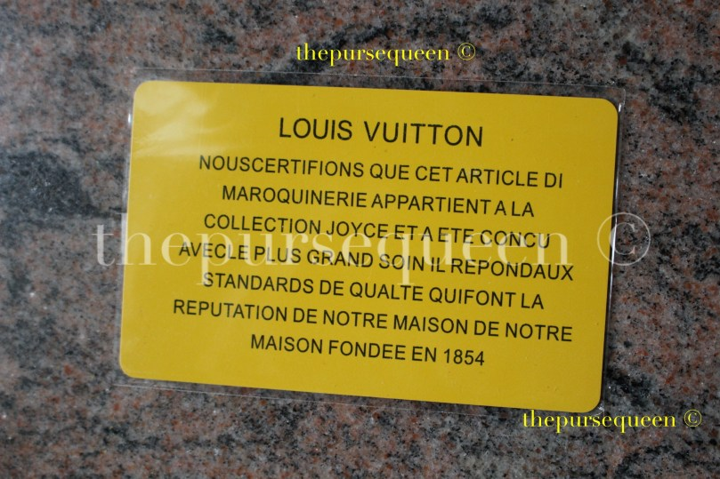 Louis Vuitton Neo Noe M44021 authentication card back