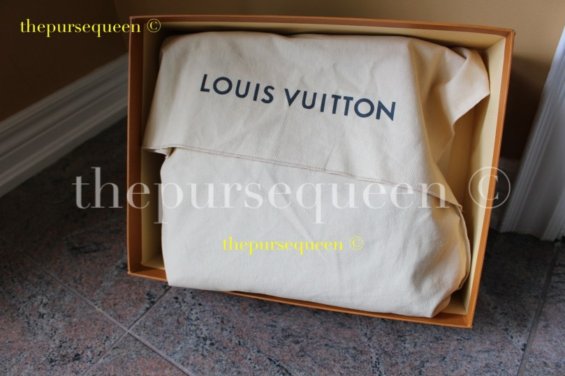 The Louis Vuitton NéoNoé bag with its dustbag on inside the box it was shipped in.