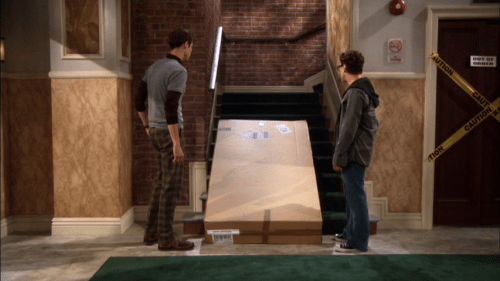 Sheldon and Leonard solve a problem using an inclined plane