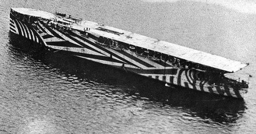 HMS Argus using dazzle camouflage in 1918
