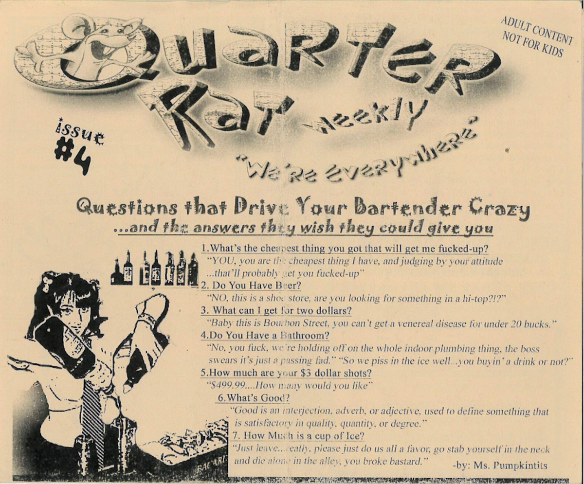 Quarter Rat issue No. 4: a strip club power outage, crazy bartender questions