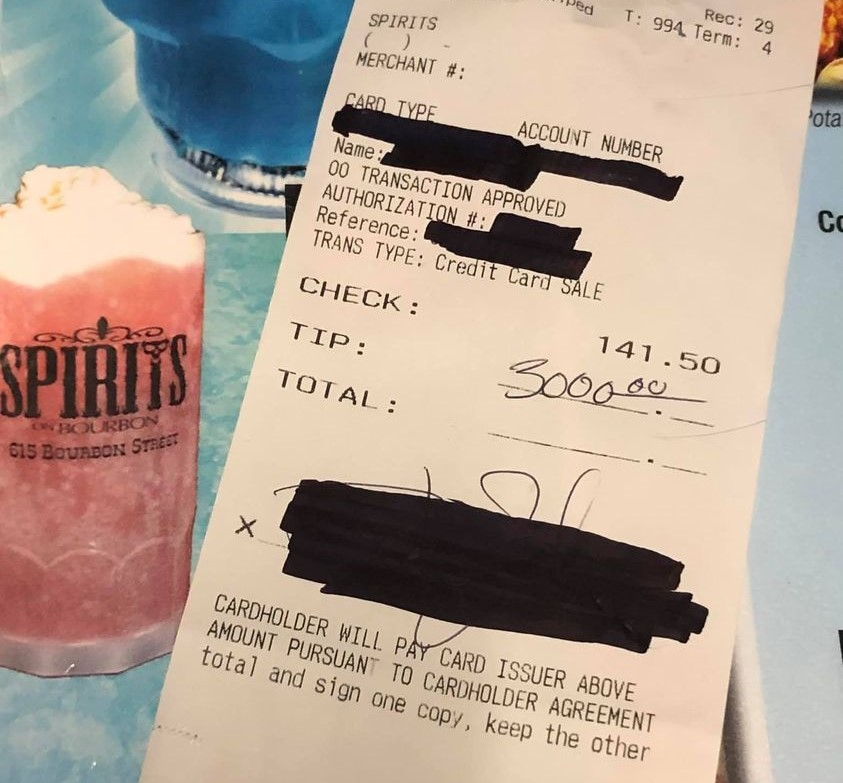Anonymous customer tips Spirits on Bourbon workers $3K for a second time