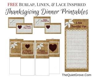 FREE Burlap, Linen, & Lace Inspired Thanksgiving Dinner Printables