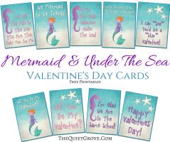 Free Mermaid Themed Valentine Card Printables