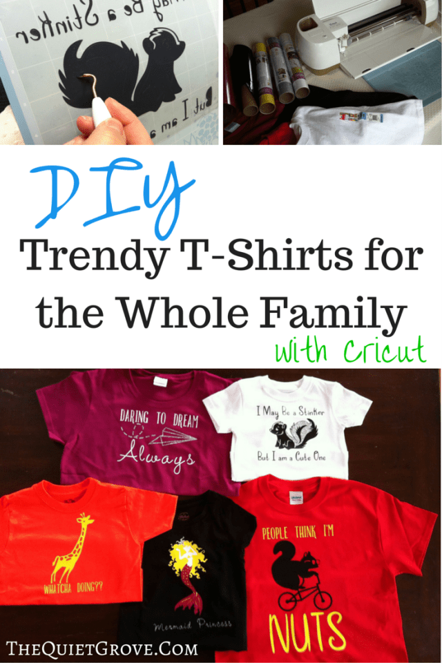 Check out how easy it is to make your own tready t-shirts fr each member of your family with Cricut.