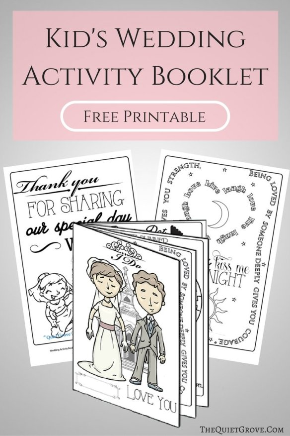 Dramatic image with printable wedding activity book