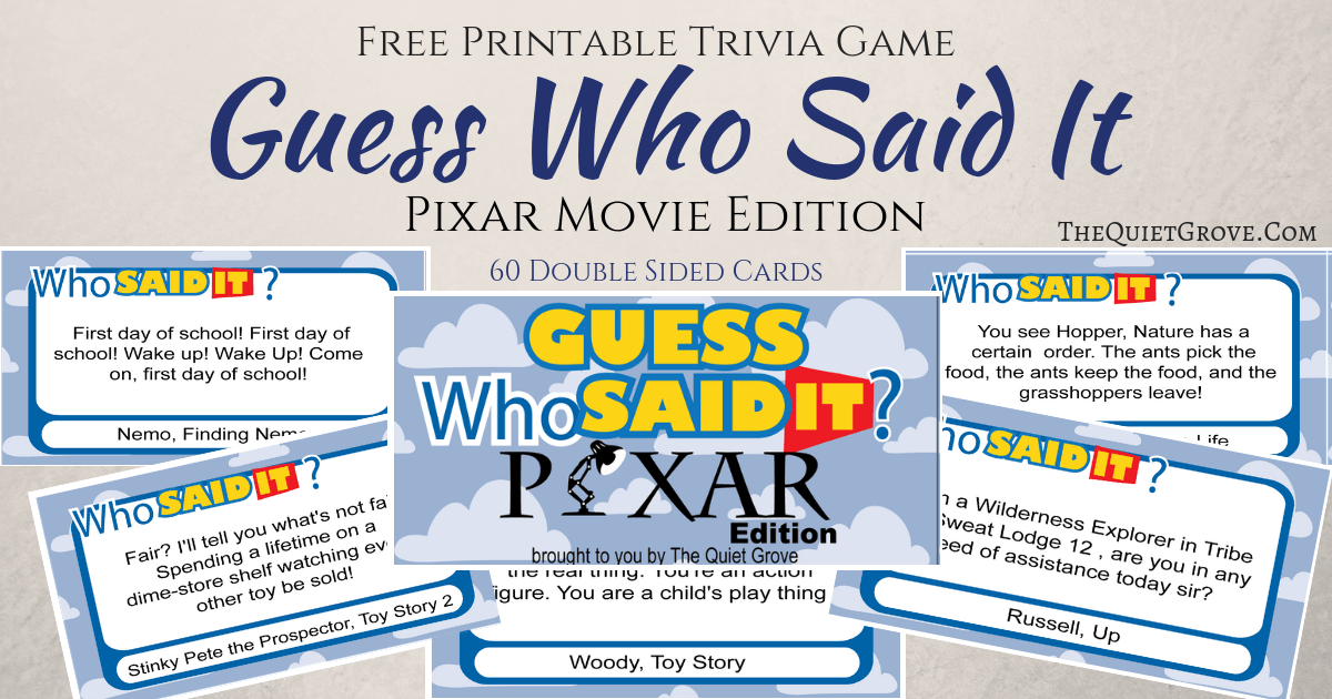 picture regarding Guess Who Cards Printable known as Totally free Printable Wager Who Claimed It Pixar Variation ⋆ The Relaxed