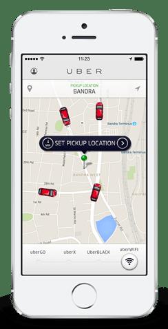 Uber App screen