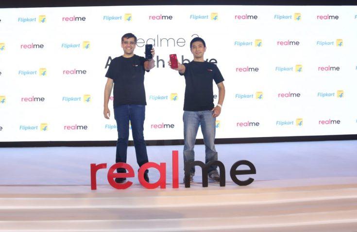 Realme India CEO, Madhav Sheth and Realme CPO, Levi Lee at the launch of 'a notch above' Realme 2