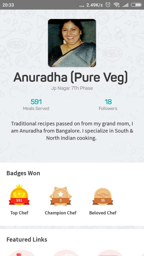 Chef Anuradha's profile