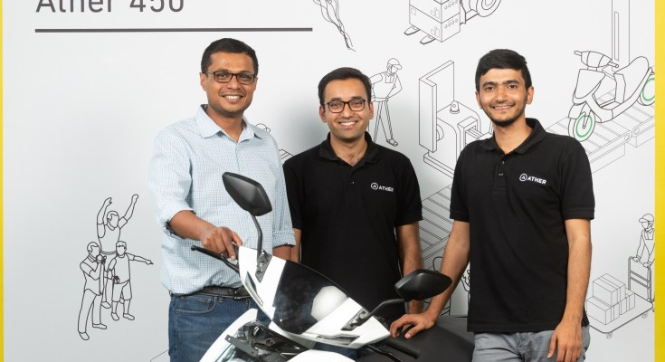 L-R - Mr. Sachin Bansal, Tarun Mehta, CEO and Co-Founder, and Mr. Swapnil Jain, CTO and Co-Founder, Ather Energy