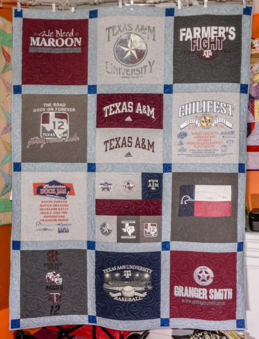 Completed T-Shirt Quilt of College sports team Texas A&M made by the quilt rambler