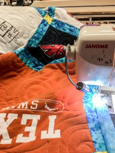 A Texas t-shirt is being sewn in the Quilt Rambler studio located in Texas