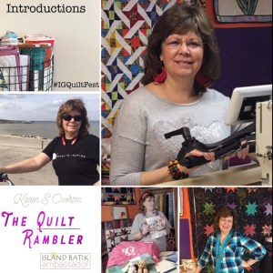 Challenging to wear so many hats, longarm quilter, island batik ambassador, quilt teacher, bike rider