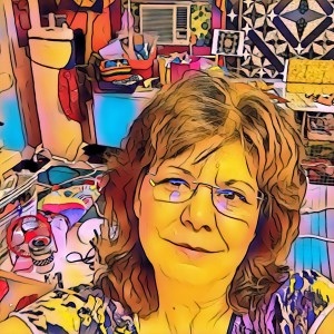 cartoon version of The Quilt Rambler studio with the appearance of the after effects of a whirlwind due to the creative clutter