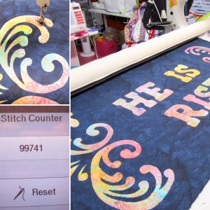 photo collage showing longaram quilting of a reverse appliqué Easter project