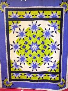 full view of the beautiful Morning Glory quilt pattern by Deb Tucker, quilted by The Quilt Rambler