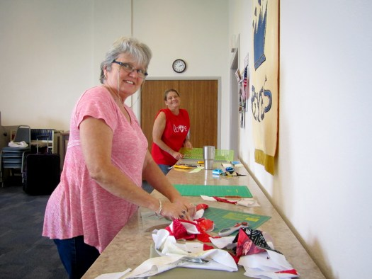 students in quilting workshop