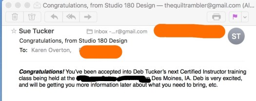 Email from Studio 180 Design for Certified Instructor Training